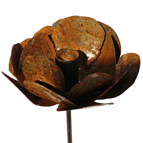 Rose en métal pour bougies longues