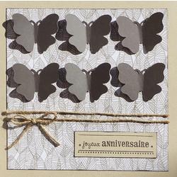 Karten «Papillons» mit «joyeux anniversaire» (3er-Set)