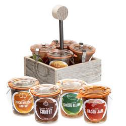 Servier-Box mit 4 würzigen Chutneys