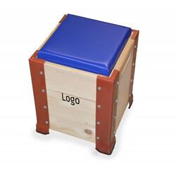 Holz-Hocker im Cargo-Look
