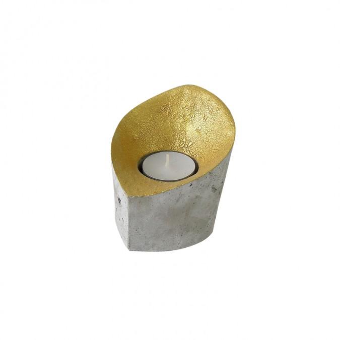 Bougeoir en béton coupe en or